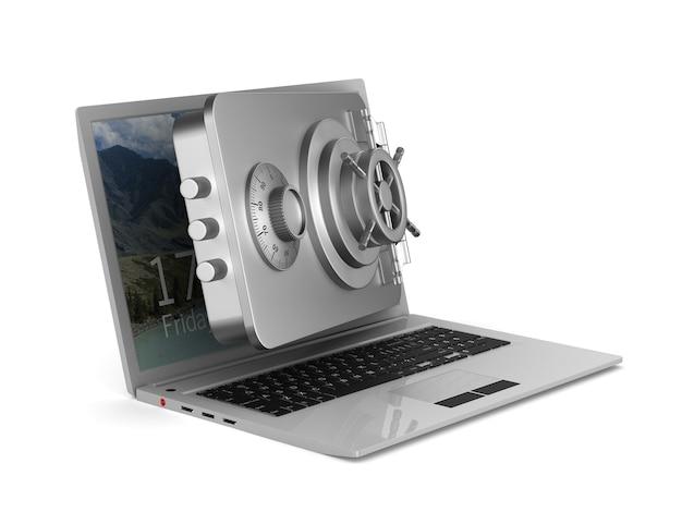 Beschermde laptop. geïsoleerde 3d-weergave