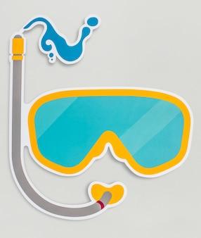 Beschermende brillen voor duiken geïsoleerd op achtergrond