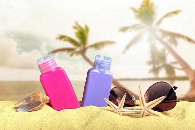 Bescherming tegen de zon ingesteld op strand