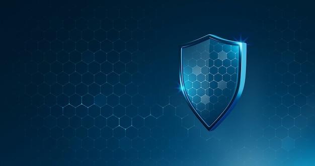 Bescherming veilig schild of bewaker virusverdediging op veilige achtergrond met verzekering medisch concept. 3d-weergave.