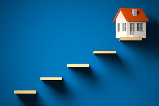 Beslis hypotheek, investering, onroerende goederen en bezitsconcept - 3d illustratie