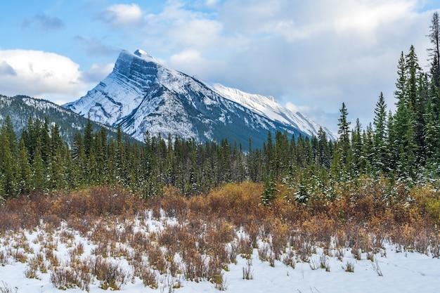 Besneeuwde berg rundle met besneeuwd bos banff nationaal park canadese rockies alberta canada