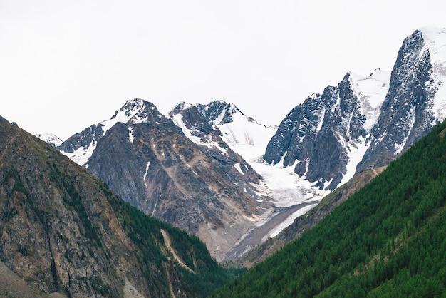 Besneeuwde bergtop achter heuvel met bos onder bewolkte hemel. rotsachtige rand bij bewolkt weer.