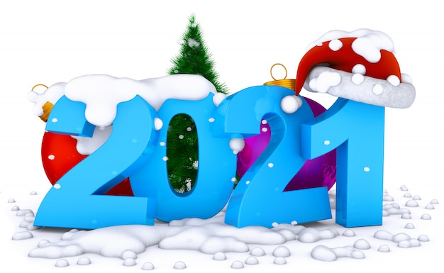 Besneeuwde nummers 2021. gelukkig nieuwjaar concept