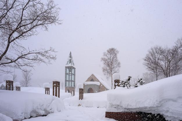 Besneeuwde stad op een winterse dag