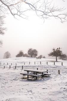 Besneeuwde zonsopgang op de picknickplaats naast het toevluchtsoord van de berg aizkorri in gipuzkoa. besneeuwde landschap door wintersneeuw