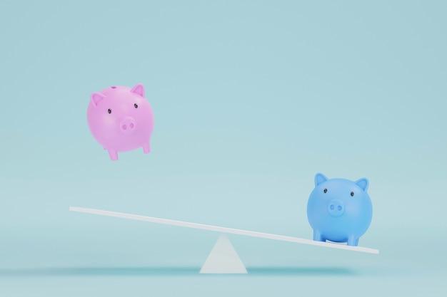 Bespaar geld en investeringsconcept. spaarvarken roze en blauw op wipschaal. 3d illustratie