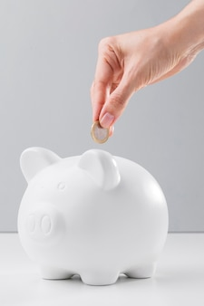 Besparingen in spaarvarken voor economische cris
