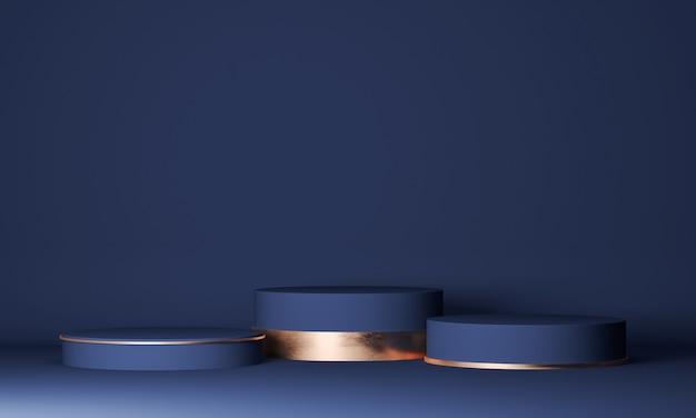 Bespeel een geometrisch vormpodium voor productontwerp, drie cilinders in marineblauw om cosmetisch product te presenteren