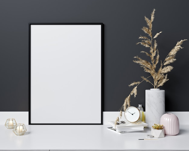 Bespot affichekader op moderne binnenlandse achtergrond, skandinavische stijl, het 3d teruggeven