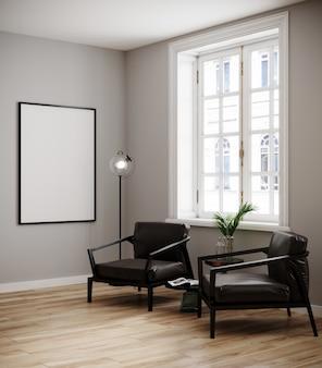 Bespot affichekader op moderne binnenlandse achtergrond, woonkamer, scandinavische 3d stijl, geeft, 3d illustratie terug
