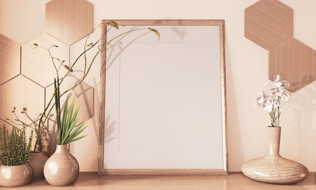 Bespotten affichekader, hexagon decoratie van de tegels houten en houten vaas op toon van de vloer de houten aarde 3d teruggeven