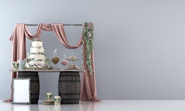 Bespotten bruidstaart op witte muur op de houten tanktafel 3d-rendering