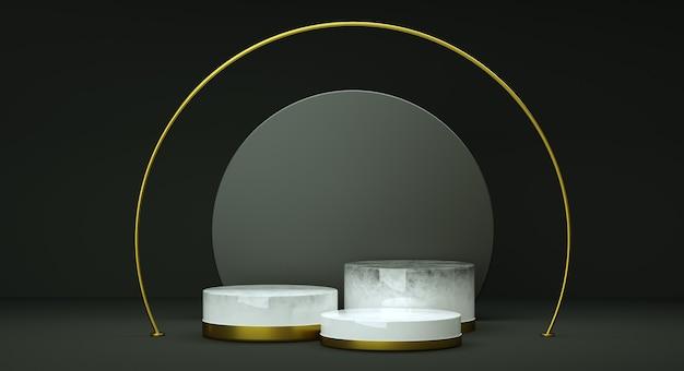 Bespotten geometrisch vormpodium voor productontwerp, 3d-rendering, donker en elegant