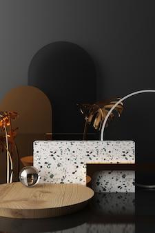 Bespotten geometrische vorm goud en glas textuur met zwarte kleur podium voor product