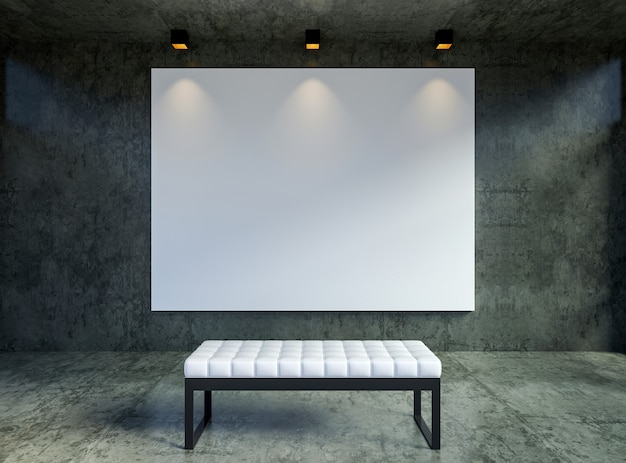 Bespotten leeg canvas-affichekader in moderne zoldergalerij binnenlandse backgrond, het 3d teruggeven