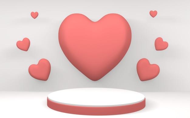 Bespotten minimalist valentine roze podium op witte achtergrond. 3d-weergave