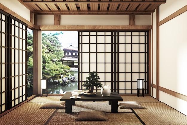 Bespotten - moderne woonkamer, japanse stijl. 3d-rendering