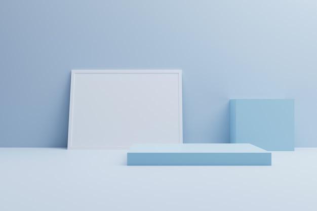 Bespotten podium, abstracte blauwe vorm 3d illustratie