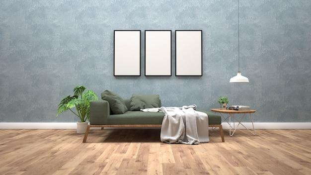 Bespotten poster frame met interieur achtergrond