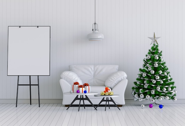 Bespotten poster interieur kerstmis interieur kamer. 3d render