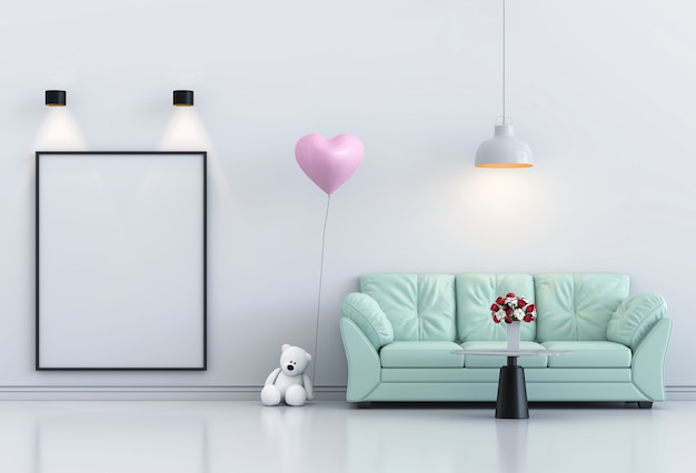 Bespotten poster interieur woonkamer en sofa, roze ballon. 3d render
