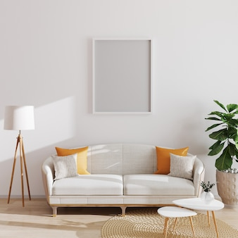 Bespotten poster of fotolijst in moderne minimalistische interieur, scandinavische stijl, 3d illustratie