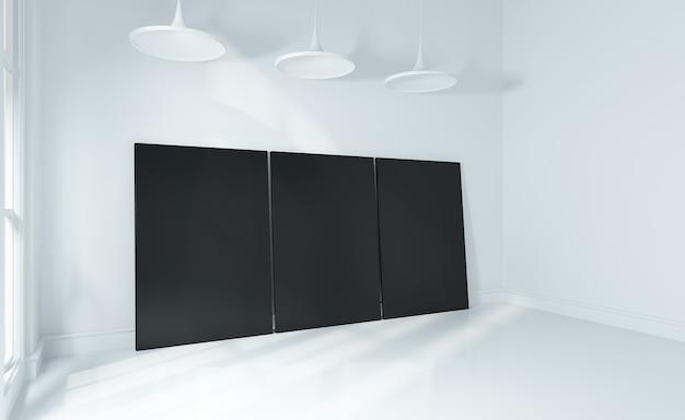 Bespotten poster op witte muur en witte vloer kamer moderne interieur 3d weergegeven