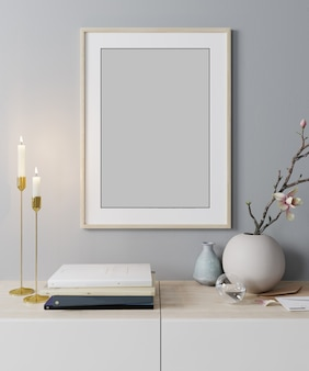 Bespotten posterframe op moderne interieur achtergrond, scandinavische 3d stijl, render, 3d illustratie