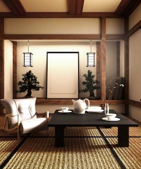 Bespotten, speciaal ontworpen in japanse stijl, woonkamer. 3d-rendering