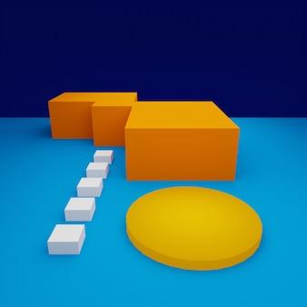 Bespotten van abstracte kleurrijke lege podium minimaal. 3d-weergave