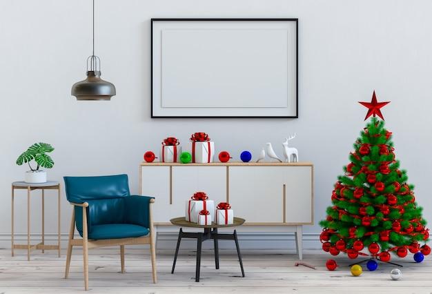 Bespotten van de woonkamer van het affichekader kerstmis binnenlandse. 3d-rendering