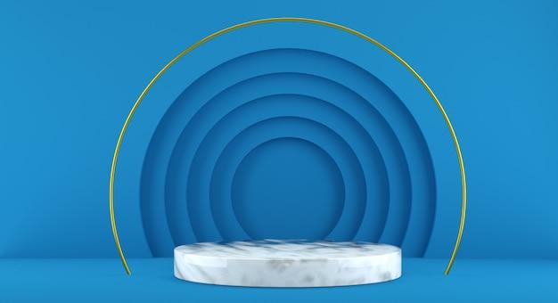 Bespotten van geometrisch vormpodium voor productontwerp, 3d-rendering, blauwe kleur