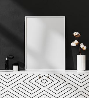 Bespotten van leeg posterframe in zwart-wit modern interieur met stijlvolle decoratie, frame in luxe en eigentijds interieur, 3d-rendering