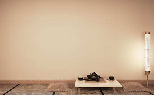 Bespotten van lege muur ryokan woonkamer japanse stijl met tatami mat vloer en decoratie. 3d-rendering