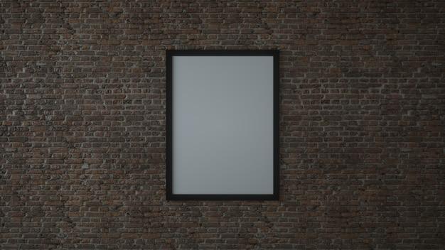 Bespotten van lege poster fotolijst op bakstenen muur. 3d-afbeelding.