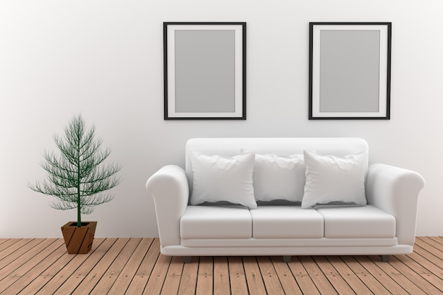 Bespotten van minimalistische witte bank met plant in 3d-rendering