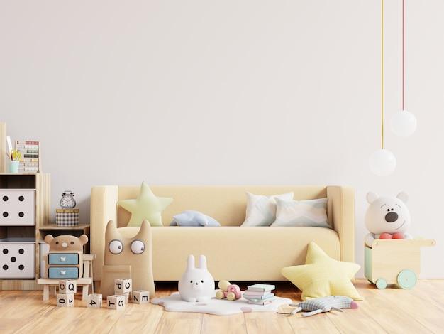 Bespotten van muur in de kinderkamer in witte muur 3d-rendering