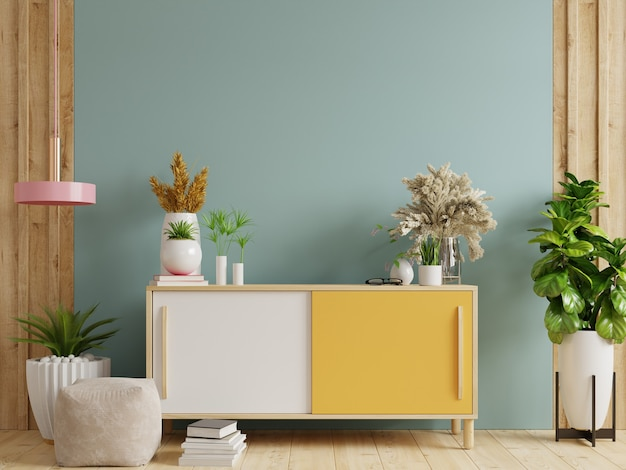 Bespotten van muur op kast in interieur. 3d-rendering