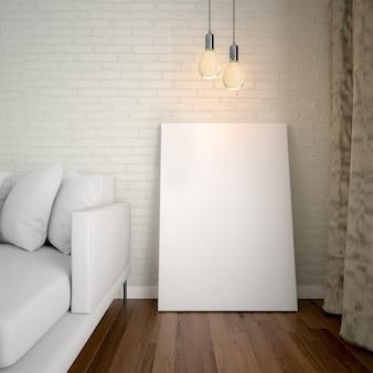 Bespotten van poster frame sjabloon, werkruimte mock up, sofa verlichting gordijn interieur achtergrond.