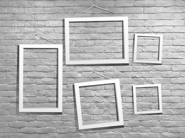 Bespotten van witte fotolijst met bakstenen muur