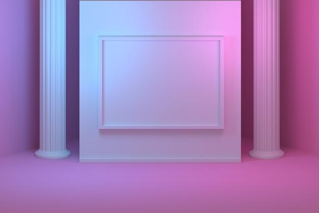 Bespotten voor presentatie met griekse pilaren en kolommen en lege lege afbeeldingsframe. kamer gevuld met roze en blauw licht.
