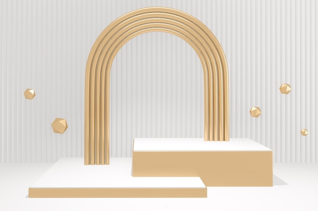 Bespotten vorm podium minimaal ontwerp op witte achtergrond. 3d-weergave