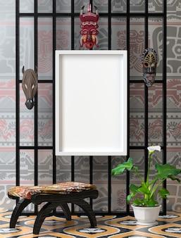 Bespreek het interieur. houten stoel met zacht kleurrijk hoofdkussen