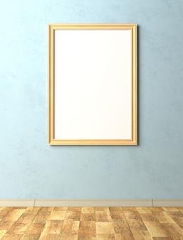Bespreek het interieur. schilderij met een leeg canvas op de blauwe stucwerkmuur.