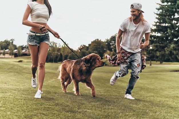Beste dag ooit! jonge moderne paar spelen met hun hond tijdens het hardlopen in het park