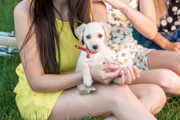 Beste vrienden die een schattige hond in de armen houden