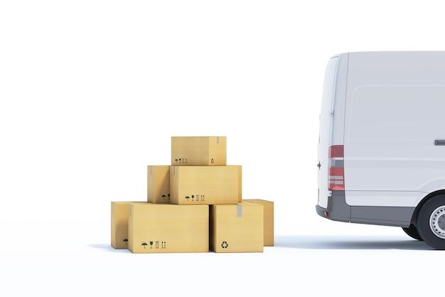 Bestelwagen met geïsoleerde document dozen