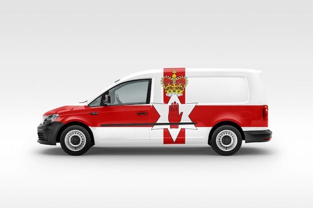 Bestelwagen met vlag van noord-ierland