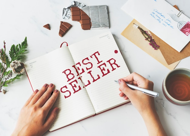 Bestseller kopen verkoop winkelen grafisch bedrijfsconcept